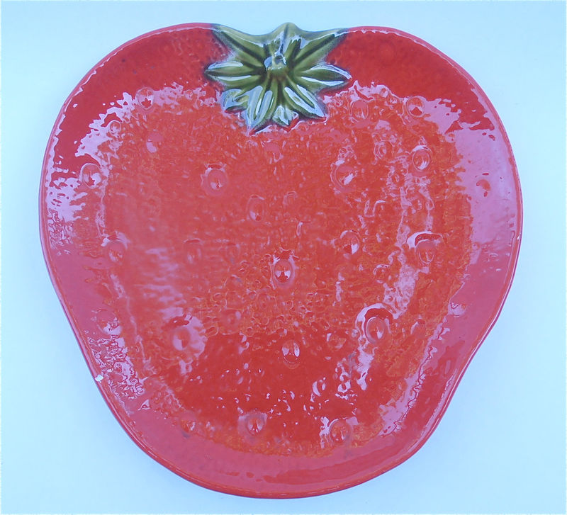 Vintage Strawberry Tray Vintage Red Plate Vintage Red Tray Platter Serving Red Dish Strawberry Plate Knobler Ceramic Italy Red Ceramic Plate - product images  of
