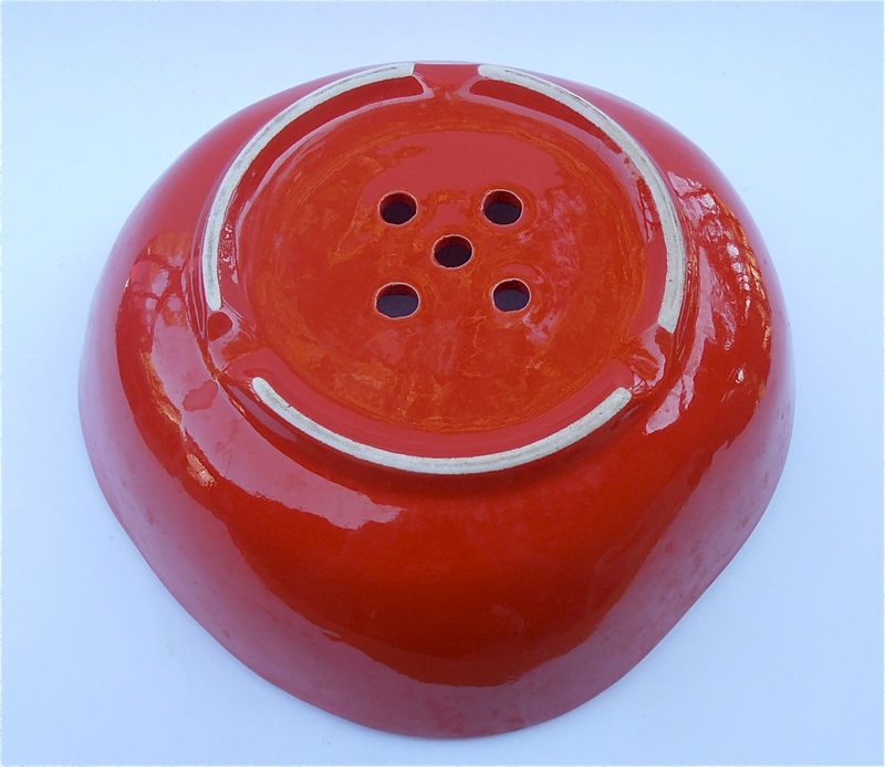 Vintage Red Colander Vintage Red Strainer Vintage Red Ceramic Bowl Vintage Strawberry Bowl Red Bowl Vintage Strawberry Plate Vintage Red Dis - product images  of