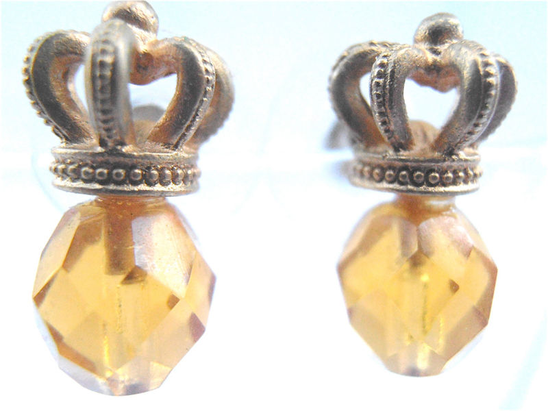 Vintage Faux Topaz Crystal Crown Earrings Gold Tone Facet Bead Post Stud Citrine Color Amber Gold Yellow Glass Golden Villacollezione Honey  - product images  of
