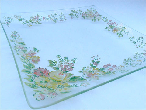Vintage,Floral,Glass,Square,Serving,Tray,Mauve,Pink,Yellow,Green,Flowers,Appetizer,Relish,Dish,Nut,Candy,Platter,Veggie,Salsa,Bloom,Plate,vintage floral clear glass square serving tray, vintage mauve yellow green floral dish, vintage shabby flower plate, vintage chip platter, vintage green clear glass dish, pastel flower tray, spring flower platter, vintage painted flower appetizer plate