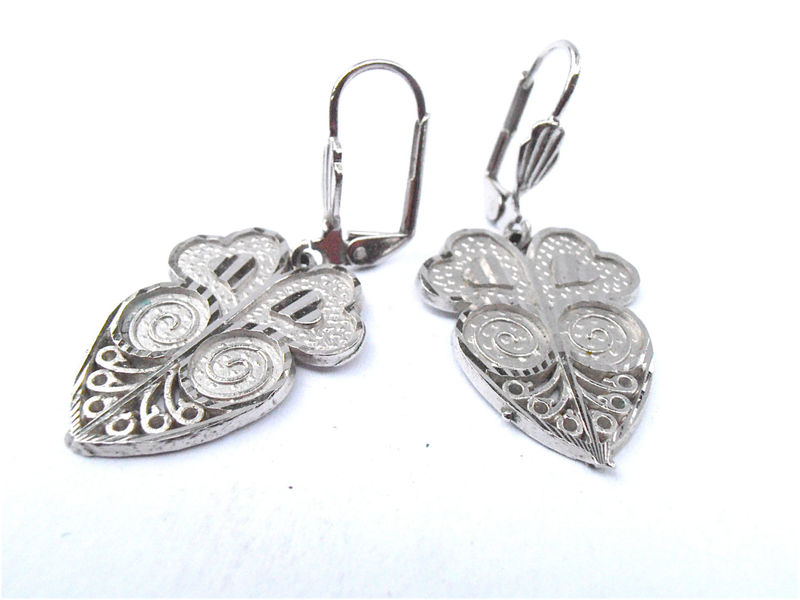 Vintage Silver Heart Filigree Earrings Lace Dangling Earrings Silver Tone Shiny Etched Engraved Textured Jewelry Jewellery Villacollezione - product images  of