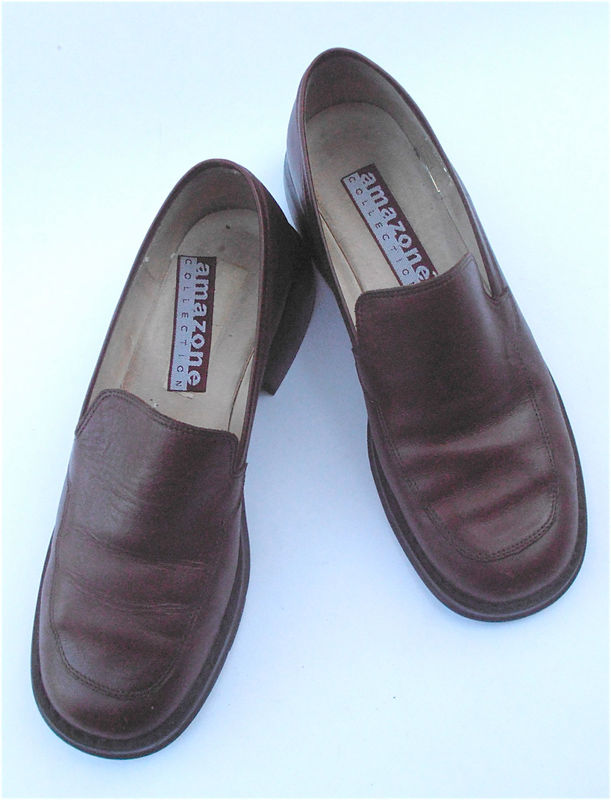 Vintage Maroon Flat Shoes Oxblood Loafers Burgundy Loafers Maroon Leather Shoes Loafers Burgundy Shoes Maroon Leather Ladies Shoe Size 7.5 - product images  of