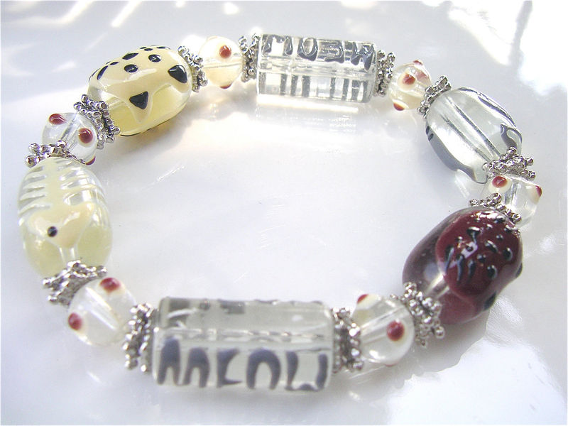 Handmade Cat Bead Bracelet Meow Paint Kitten Glass Kitty Maroon Kawaii Black Elastic Stretch Gray Whiskers Beige One Of A Kind Ooak Lover - product images  of