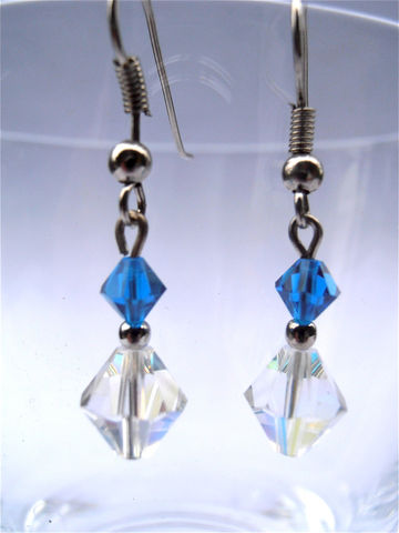 Handmade,Sapphire,Crystal,Earrings,Aurora,Borealis,Blue,Dangling,Swarovski,Elements,Silver,Plated,jewelry, earrings, dangle, handmade dangling sapphire crystal earrings, blue crystal earrings, faux sapphire earrings, faceted sapphire dangling earrings, sapphire swarovski elements earrings, blue sapphire color earring, aurora borealis earrings