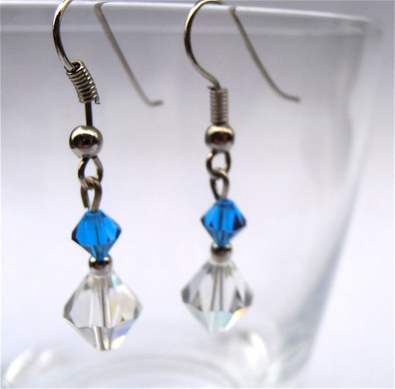 Handmade Sapphire Crystal Earrings Aurora Borealis Crystal Earrings Blue Dangling Earrings Swarovski Crystal Elements Silver Plated Earrings - product images  of