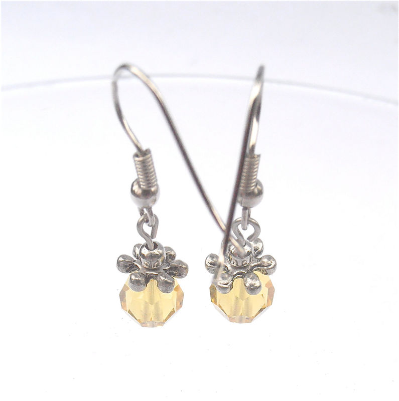 Handmade Citrine Crystal Earrings Gold Crystal Earrings Color Gold Earrings Citrine Dangling Earrings Swarovski Element Crystal Silver - product images  of