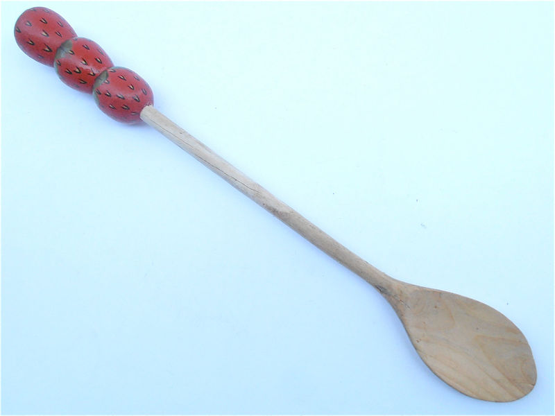 Vintage Strawberry Long Wooden Spoon Red Green Handle Carved Wood Serving Red Fruit Green Kitchen Utensil Foodie Decorative Villacollezione - product images  of