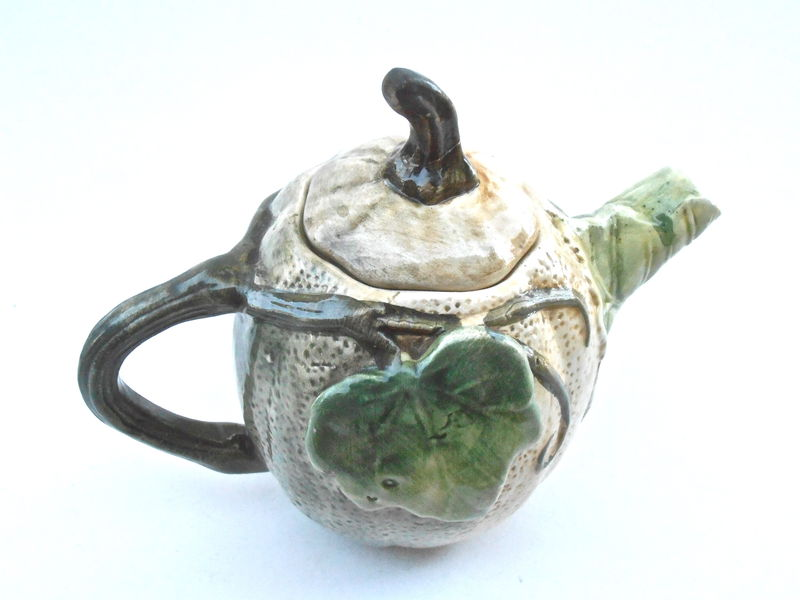 Vintage Pumpkin Teapot Squash Pottery Green Leaf Brown Leaves Ceramic Pot Vine Bas Relief Serving Carved Etched Engraved Sculpture Figurine - product images  of