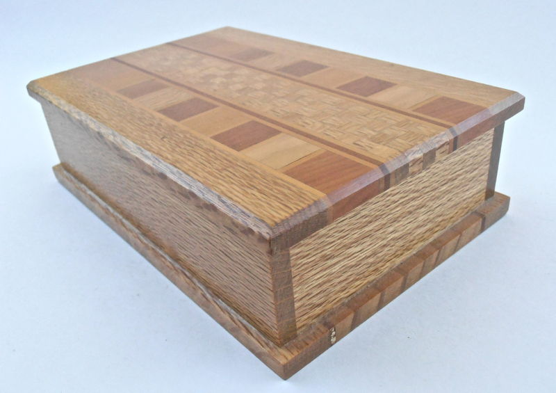 Vintage Natural Wood Rectangular Box Marquetry Wooden Inlaid Storage Case Mosaic Sovereign Woodware Timbers New Zealand Rectangle Inlay  - product images  of