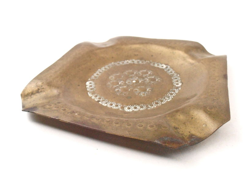 Vintage Brass Ashtray Square Brass White Enamel Engraved Etched Handmade Tool Marks Cigar Handtooled Hippie Patina Cigarette Catchall Tray - product images  of