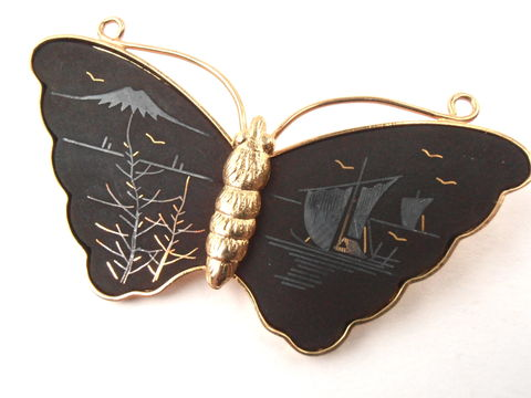 Vintage,Butterfly,Amita,Damascene,Brooch,Matte,Black,Pin,Gold,Tone,Japanese,Asian,Landscape,Scene,Jewelry,Mt,Fuji,Boat,Bird,Villacollezione,vintage black butterfly brooch, vintage amita gold black butterfly pin, vintage mt fuji brooch, vintage japanese motif brooch, vintage gold tone inlay brooch, gold tone butterfly brooch, asian landscape pin, vintage amita damascene butterfly brooch