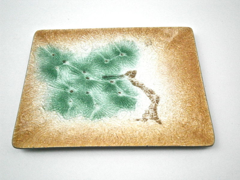 Vintage Tree Metallic Bronze Glass Tray Green Miniature Catchall Rectangular Plate Tree Nature Asian Nut Candy Mint Dish Japanese Bonsai - product images  of