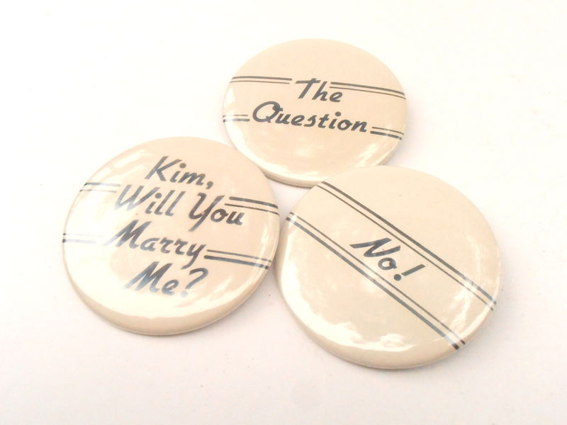 Vintage Marriage Proposal Bride Pin Yes No Bridal Shower Game Will You Marry Me Kim Round Button Engagement Bachelorette Party Beige Gag - product images  of