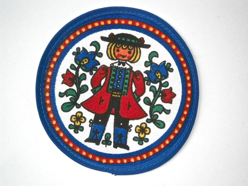 Vintage Swedish Blue Round Patch Folk Costume Scandinavian Applique Sweden Coaster Male Female Red White Fabric Pad Sewn On Boy Girl Cloth - product images  of