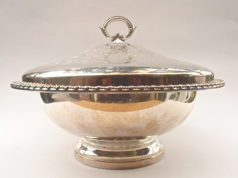 Vintage Silver Bowl Dish Simeon George Rogers Casserole Anniversary Buffet Cover Serving Pyrex Round Pedestal Bride Bridal Shower Wedding - product images  of