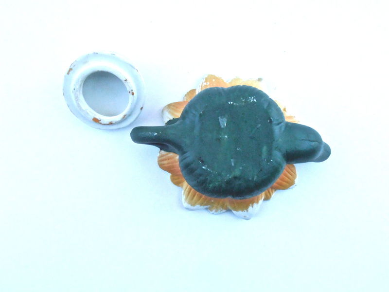 Vintage Sunflower Miniature Teapot Pottery Wild Flower Tea Kettle Ceramic Mini Bee Petal Pottery Kawaii Mustard Earthenware Green Figurine - product images  of