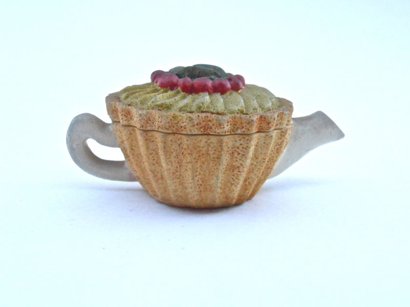 Vintage Red Fruit Tart Pie Teapot Miniature Kettle Ceramic Mini Kiwi Cherry Raspberry Pottery Kawaii Mustard Crust Earthenware Tea Dessert - product images  of