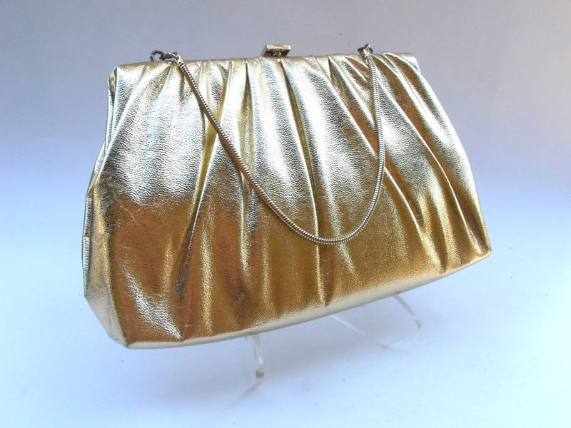 Vintage Gold Metallic Handbag Faux Leather Golden Clutch Purse Lame Bag Formal Evening Bag Mid Century Compact Snake Chain Drop Handle - product images  of