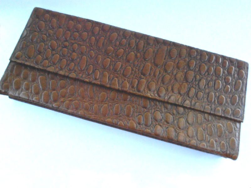 Vintage Mock Croc Brown Long Clutch Purse Vinyl Mid Century Air Step Embossed Reptile Simulated Leather Faux Alligator Handbag Midcentury - product images  of