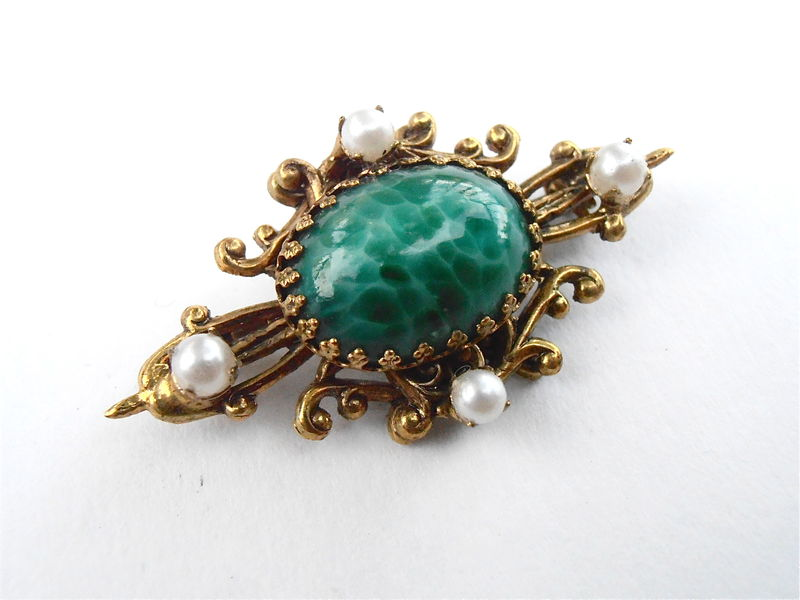 Vintage Marble Dark Green Brooch Cabochon Filigree Faux Seed Pearl Art Nouveau Emerald Gold Tone Oval Pin Ornate Art Nouveau Mid Century   - product images  of