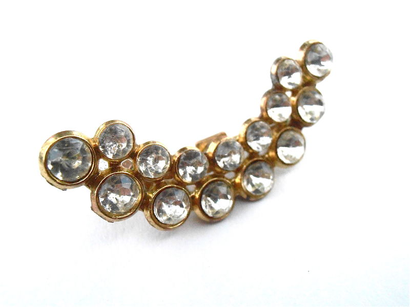 Vintage Clear Rhinestones Studded Crescent Brooch Gold Tone Transparent Curve Sweater Lapel Hat Scarf Beret Pin Mid Century Villacollezione - product images  of
