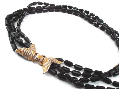 Vintage,Faux,Black,Onyx,Faceted,Bean,Bead,Multistrand,Necklace,Four,Strand,Gold,Tone,Ribbon,Ornate,Fancy,Art,Deco,Costume,Jewelry,23,Inches,Plastic,Beaded,Midcentury,Villacollezione,vintage faux onyx multi strand necklace, vintage black bead necklace, multistrand art deco, faceted black plastic bead necklace, art deco black bead necklace, 23 inches black necklace, gold tone butterfly clasp, ribbon bow gold tone jewelry