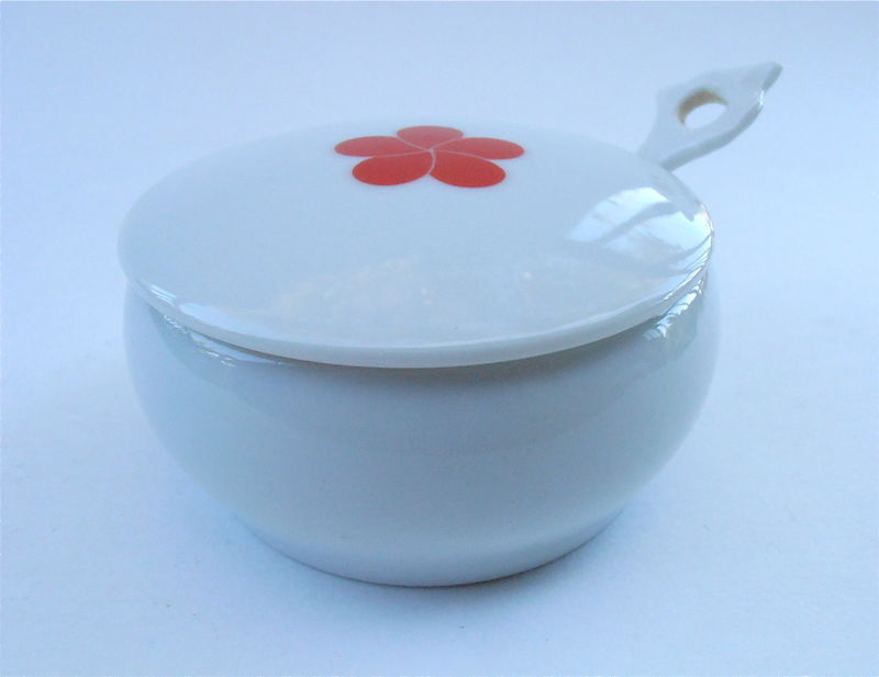 Vintage Round White Ceramic Relish Bowl Red Camellia Single Flower Covered Miniature Mini Serving Dish Sauce Pottery Spoon Villacollezione - product images  of
