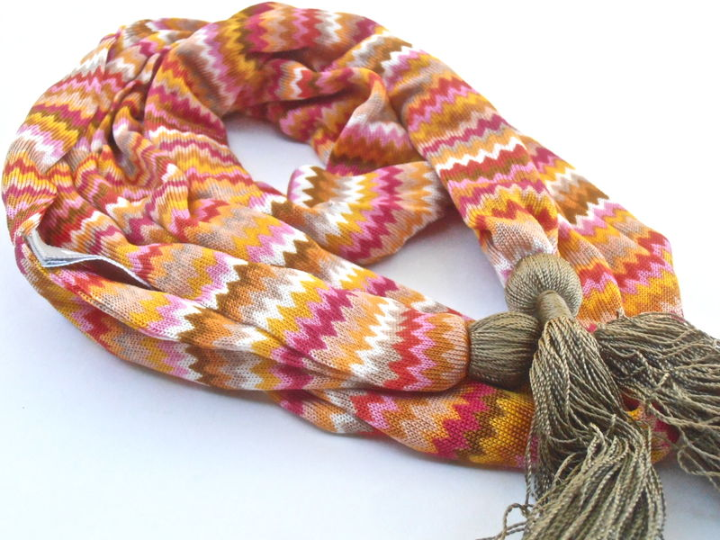 Vintage Mini Chevon Scarf Olive Green Tassel Echo Orange Designer Orange Red Pink Brown Gold Tiny Design Pattern Rick Rack Villacollezione - product images  of