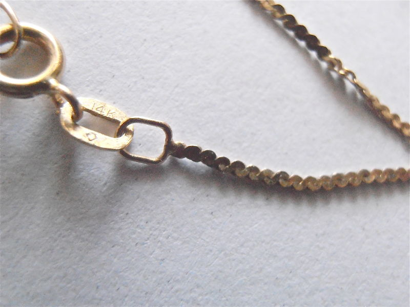 Vintage 14K Gold S Flat Chain Link Necklace 18 Inches Shiny Tiny 3 MM Bead Ball Hallmarked Skinny Slim Stackable Jewelry Villacollezione - product images  of
