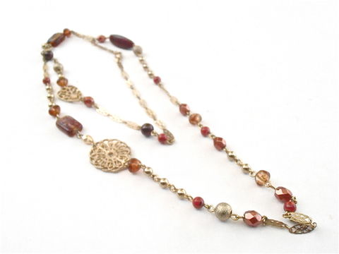 Vintage,Gold,Tone,Bronze,Bead,Filigree,Chain,Link,Necklace,Avon,Faux,Amber,Sienna,Acrylic,Faceted,Boho,Single,Strand,39,Inches,Tawny,Copper,vintage gold tone bronze bead necklace, vintage filigree gold tone necklace, vintage avon amber bead necklace, vintage metallic bronze bead tawny copper amber 39 inch necklace, sienna tawny brown faux amber necklace, boho single strand strand necklace