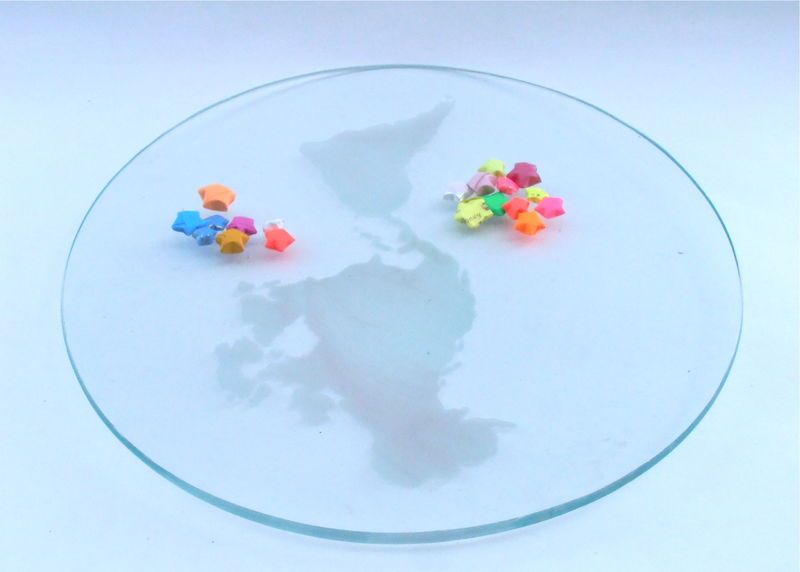 "Vintage Frosted World Map Round Glass Plate 11"" Inch Plaque Clear Platter Asia Europe South America North Australia Africa Frost Tray - product images  of"