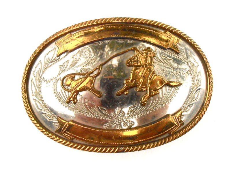 Vintage Cowboy Roping Calf Oval Buckle Gold Tone German Silver Lasso Rope Rodeo Horse Country Western Southwestern Etched Engraved Embossed  - product images  of