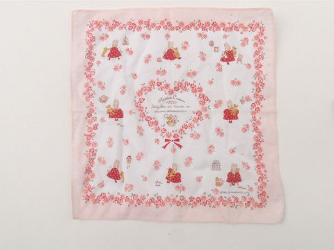 Vintage,Sanrio,Pink,Floral,Hanky,Marron,Cream,Rabbit,Teddy,Bear,Bunny,Cotton,Hankie,Kawaii,Handkerchief,Red,White,Polka,Dress,Heart,hard to find vintage marron cream hankie, vintage pink floral hearts handkerchief, vintage red rabbit bunny kawaii handkerchief, vintage pink cotton hanky, red cotton hanky, red white polka dot bunny dress, floral heart rabbit dress, bunny cotton hankie