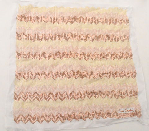 "Vintage,Chevron,Cotton,Hanky,Pierre,Cardin,Designer,Handkerchief,Brown,Peach,Yellow,White,Arrows,Ladies,Hankie,18"",Inch,Square,High,Fashion,vintage chevron cotton hanky, vintage pierre cardin ladies hankie, vintage chevron brown peach yellow 18 inch square hanky, high fashion cotton hanky, chevron arrow print, vintage designer womens hanky, vintage pierre cardin ladies handkerchief"