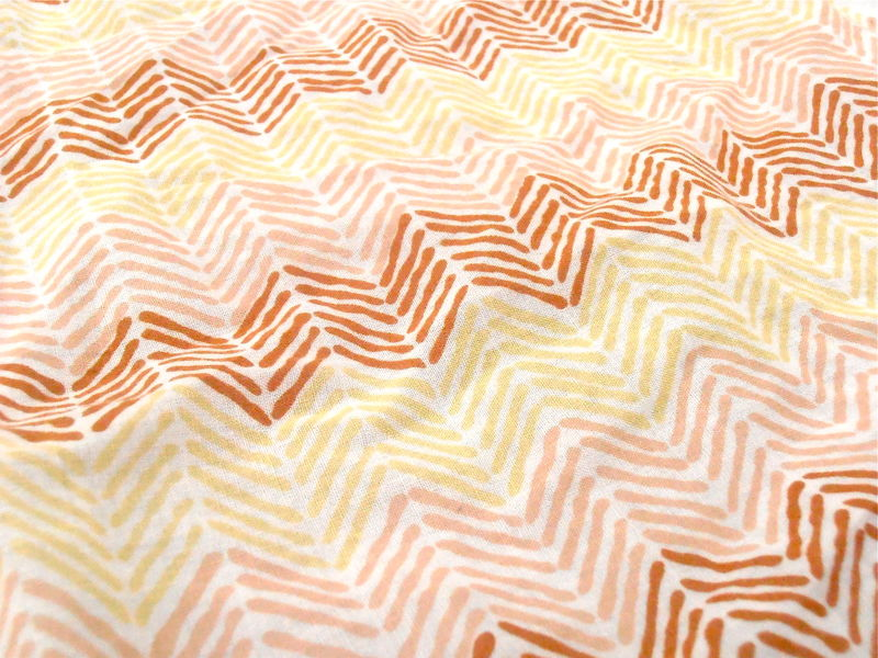 "Vintage Chevron Cotton Hanky Pierre Cardin Designer Handkerchief Brown Peach Yellow White Arrows Ladies Hankie 18"" Inch Square High Fashion  - product images  of"