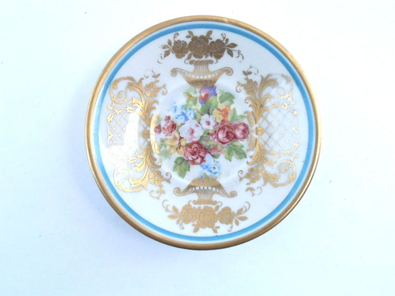 "Vintage Fine Concorde China Pastel Floral Saucer Demitasse Ornate Gold Tone Paint Porcelain 4.50"" Inch Charger Small Plate Flowers Sugar - product images  of"