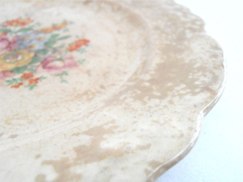 Vintage Orange Floral TST Co Plate 6.25 Inch Charger Tan Light Brown Scallop Taylor Smith Taylor Fine China Ceramic Desert Plate Porcelain - product images  of