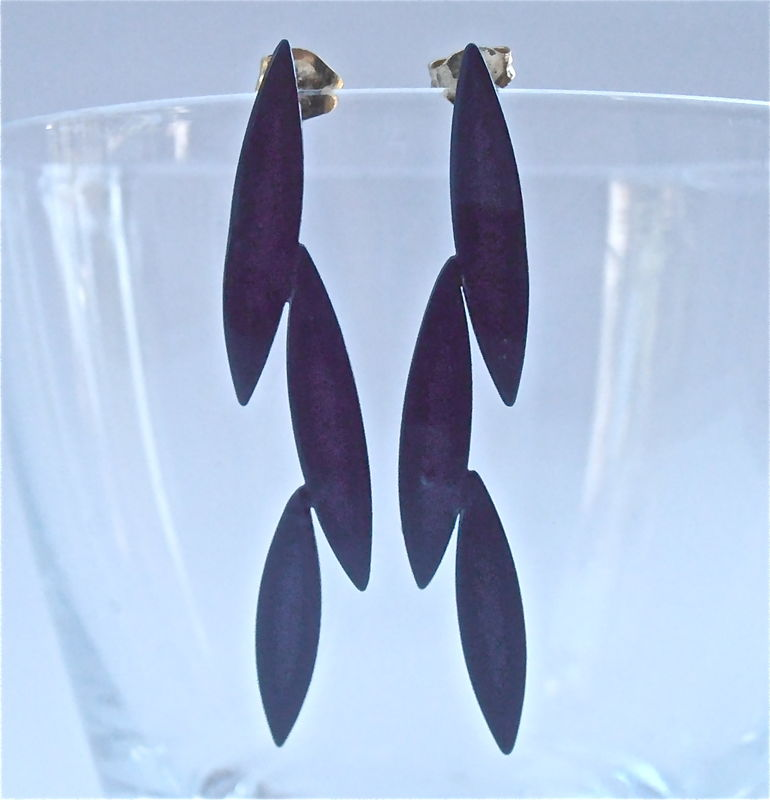 Vintage Midnight Blue Leafy Earrings Dark Navy Metal Enamel Paint Drop Spires Retro Leaves Shiny Light Post Silver Tone Modern Minimalist - product images  of