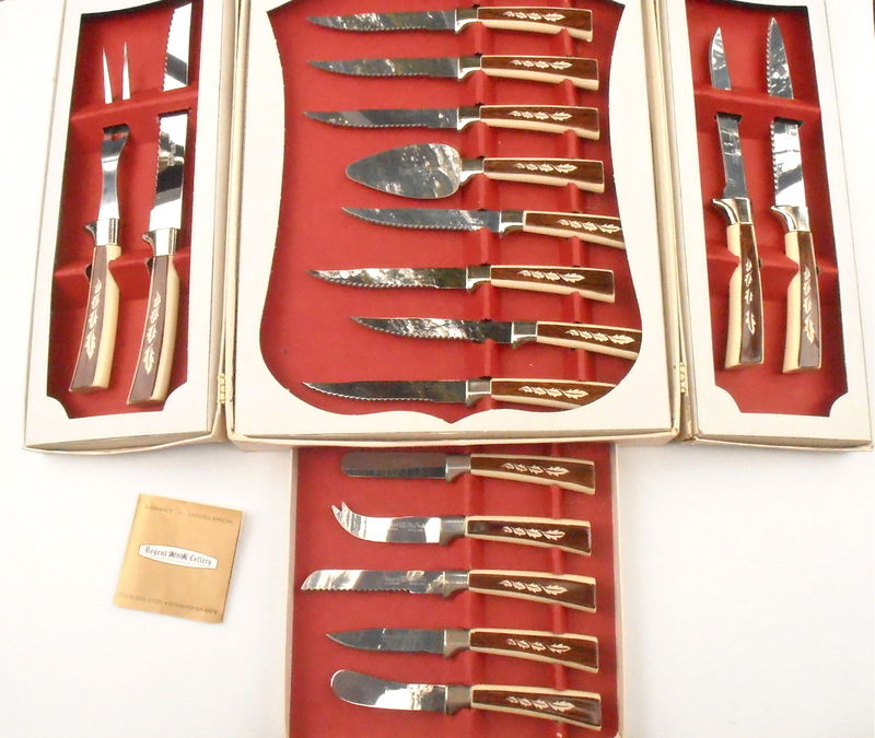 Vintage Stainless Steel Knives Regent Sheffield England Prestige Cutlery Steak Set Kitchen Hostess Chef Dessert Serving Tableware Flatware  - product images  of