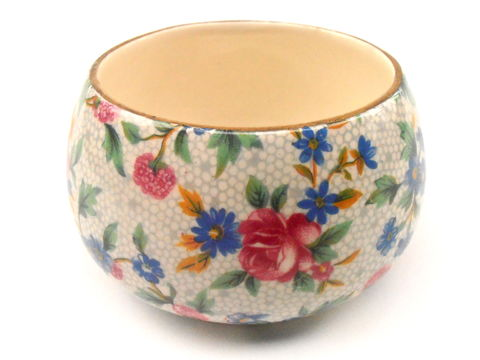 Vintage,Royal,Winton,Sugar,Cube,Bowl,Round,Ceramic,Pottery,Gold,Gilt,Gild,Floral,Pink,Blue,Green,Yellow,Old,Cottage,Chintz,Grimwades,England,vintage royal winton grimwades sugar bowl, vintage gold trim sugar cube bowl, royal winton ceramic pottery porcelain sugar bowl, vintage royal winton old cottage chintz sugar bowl, grimwades england, vintage yellow green pink blue flower round ceramic