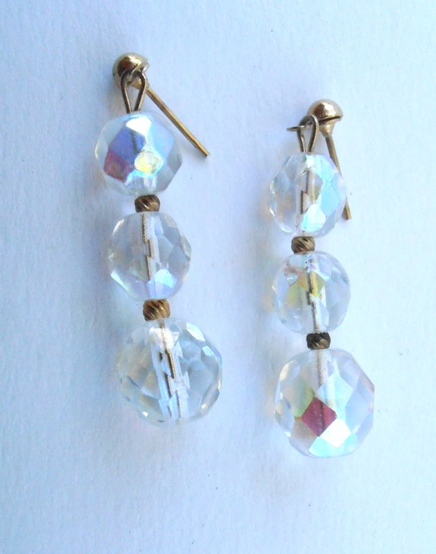 Vintage Aurora Borealis Dangling Earrings Three Graduated Iridescent Faceted Ball Rainbow Gold Tone Post Stud Round Bright Shiny Luminescent - product images  of