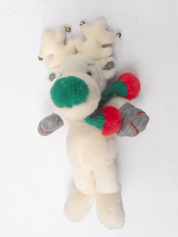 Vintage Snobell White Reindeer Green Nose Applause Stuff Toy Animal Moose Antlers Plushie Christmas Bells Holiday Kawaii Children Boy Girl - product images  of