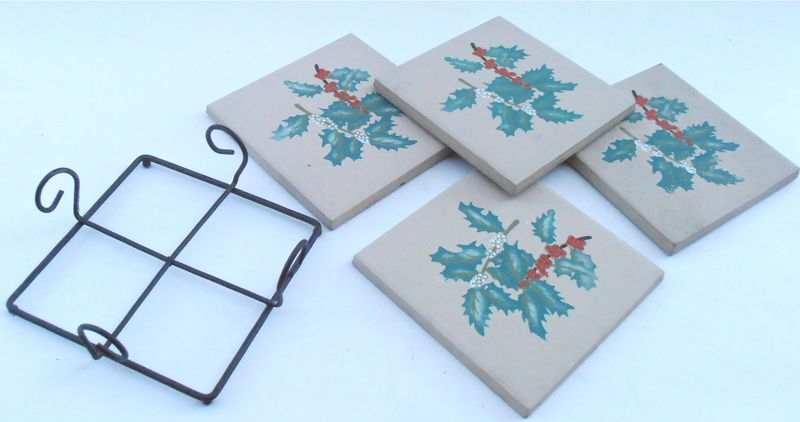 Vintage Four Christmas Coaster Painted Tiles Square Black Metal Holder Holly Red Berries Holiday  Kitchenware Serving Earthenware Terracotta - product images  of