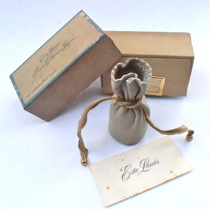 Vintage Rare Estee Lauder Private Collection Perfume Bottle Fragrance Parfum 0.25 Fluid Ounces 7.5 ml Millimeter Hard To Find Leather Pouch - product images  of