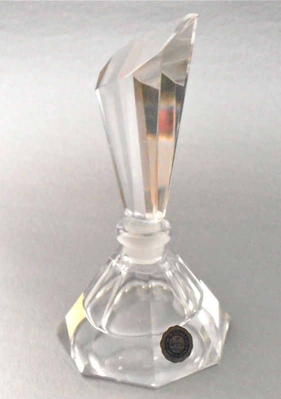 Vintage Art Deco Cut Crystal Bottle Empty Perfume Refillable Decanter Clear I W Rice Import Vanity Modern Faceted Pyramid Glass Stopper  - product images  of