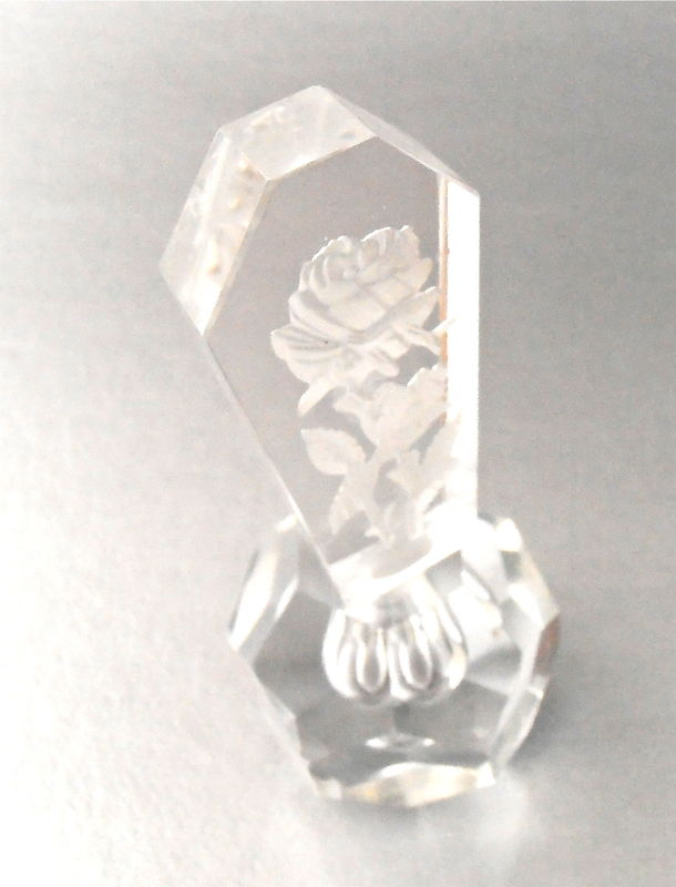 Vintage Etched Floral Faceted Crystal Bottle Perfume Art Deco Cut Clear Glass Refillable Decanter Fragrance Irving W Rice Transparent Japan  - product images  of