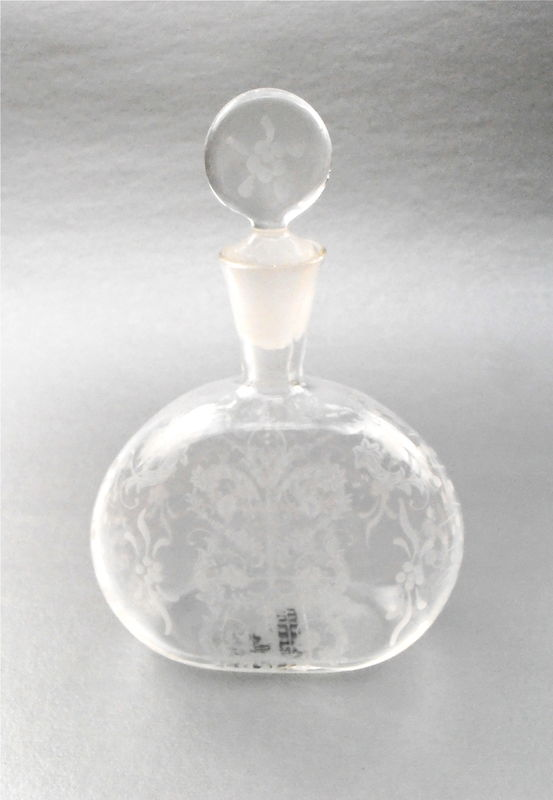Vintage Fancy Etch Decorative Perfume Bottle Refillable Decanter Stopper Floral Dauber Vetri Murano MM 003 Glass Venetian Art Nouveau Empty - product images  of