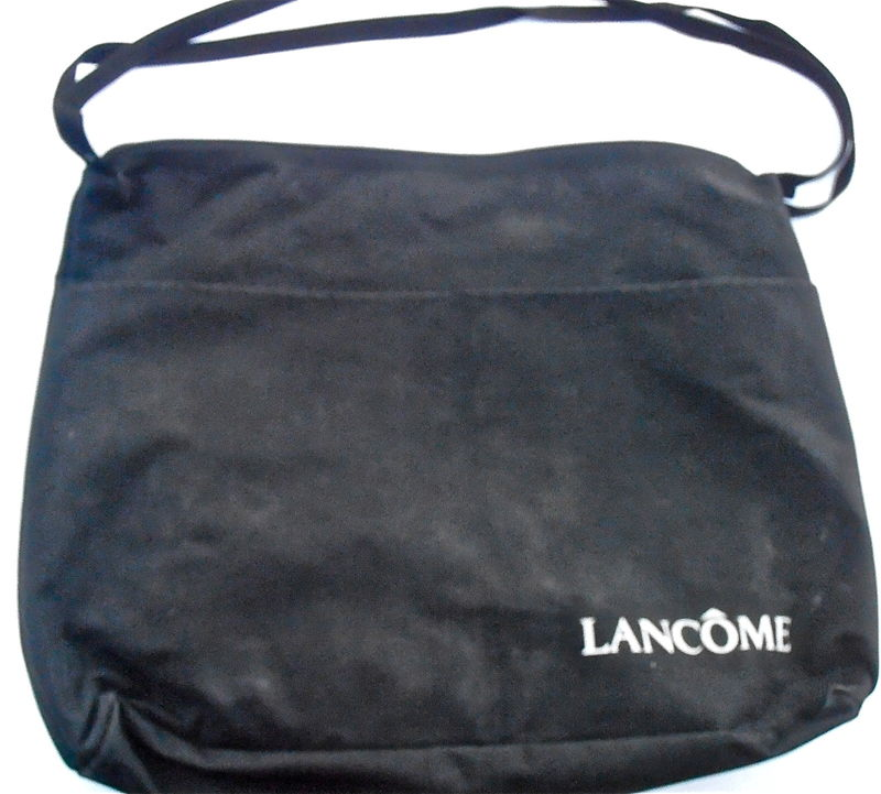 Vintage Black Fabric Laptop Bag Messenger Lancome Shoulder Travel Carry On Side Pockets Cloth Cosmetic Designer Carryall Computer Carry All - product images  of