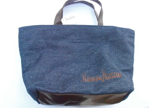 Vintage,Neiman,Marcus,Jean,Bucket,Tote,Bag,Denim,Indigo,Double,Handles,Brown,Faux,Leather,Brand,Name,Vinyl,Travel,Shopping,Embroidery,Logo,vintage neiman marcus tote, vintage neiman marcus signature bag, vintage blue denim handbag, vintage neiman marcus logo shopping bag, vintage indigo cloth handbag, brown vinyl faux leather trimmed bag, neiman marcus embroidery logo bag, denim travel bag