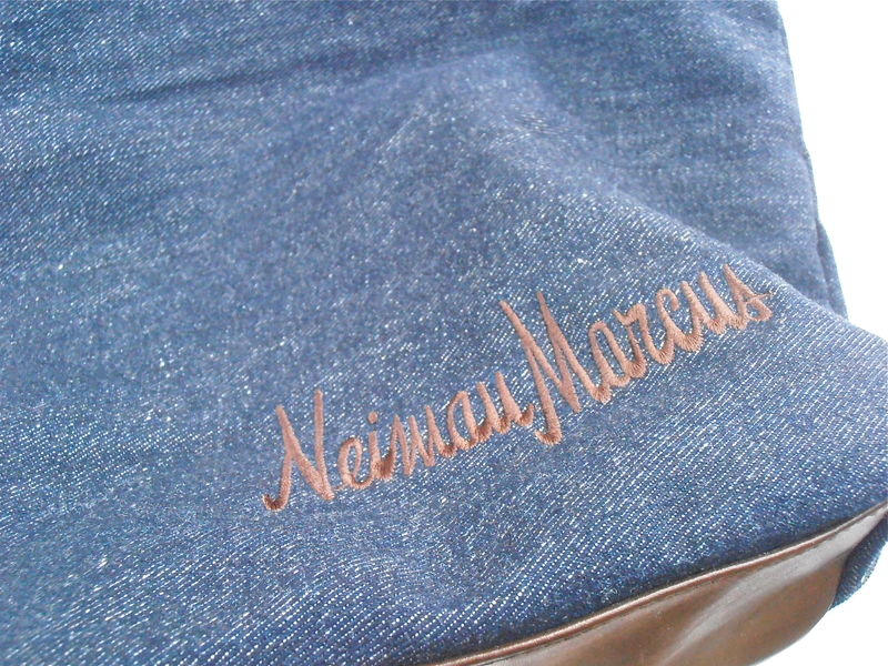 Vintage Neiman Marcus Jean Bucket Tote Bag Denim Indigo Double Handles Brown Faux Leather Brand Name Vinyl Travel Shopping Embroidery Logo - product images  of